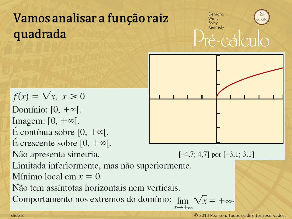 © 2013 Pearson. Todos os direitos reservados.slide 8 Vamos analisar a função raiz quadrada