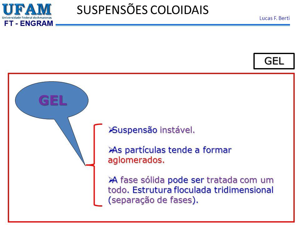 FT - ENGRAM Lucas F.Berti SUSPENSÕES COLOIDAISGEL Suspensão instável.