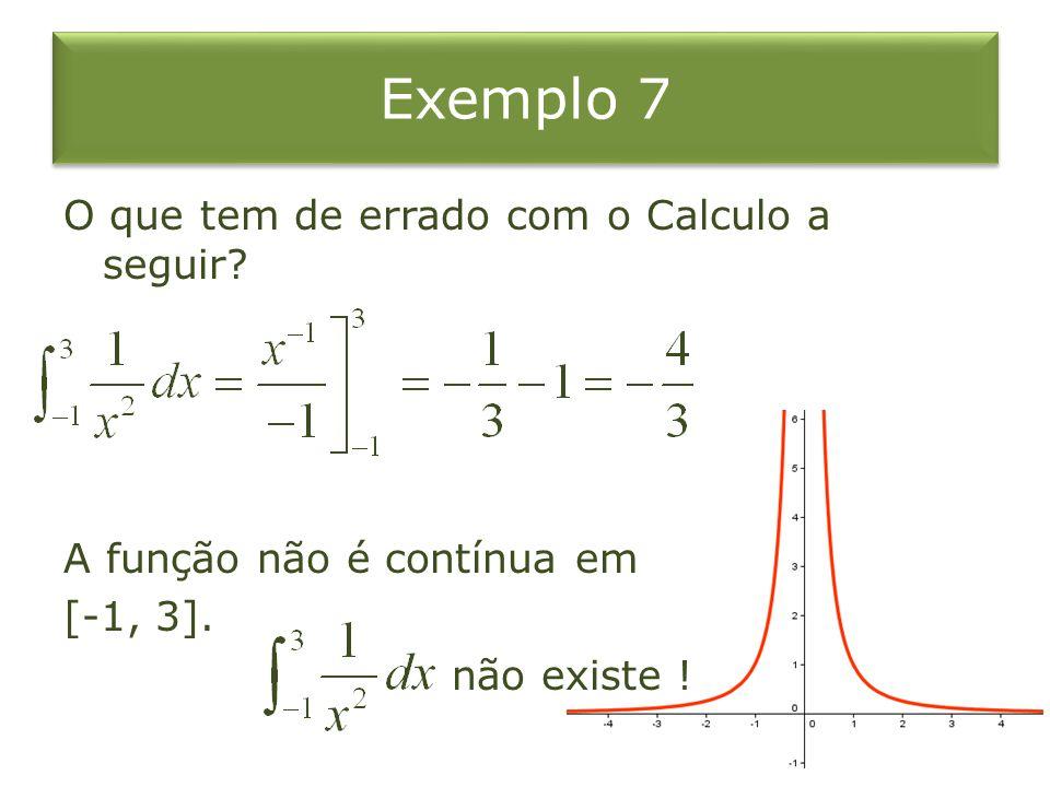 Exemplo 7 O que tem de errado com o Calculo a seguir? A função não é contínua em [-1, 3]. não existe !