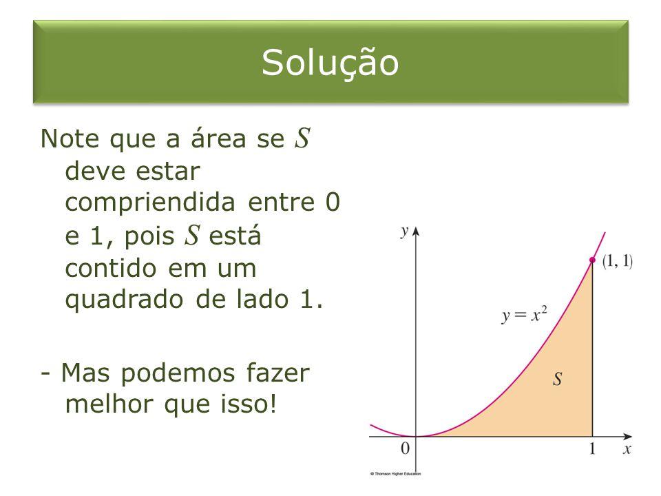 Solução Note que a área se S deve estar compriendida entre 0 e 1, pois S está contido em um quadrado de lado 1. - Mas podemos fazer melhor que isso!
