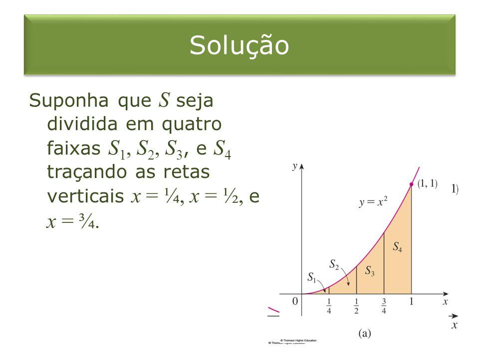Solução Suponha que S seja dividida em quatro faixas S 1, S 2, S 3, e S 4 traçando as retas verticais x = ¼, x = ½, e x = ¾.