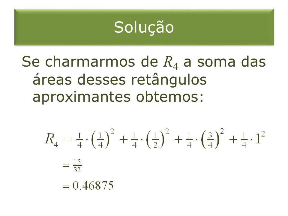 Solução Se charmarmos de R 4 a soma das áreas desses retângulos aproximantes obtemos: