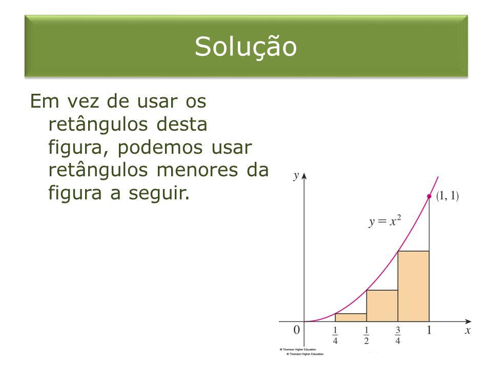 Solução Em vez de usar os retângulos desta figura, podemos usar retângulos menores da figura a seguir.