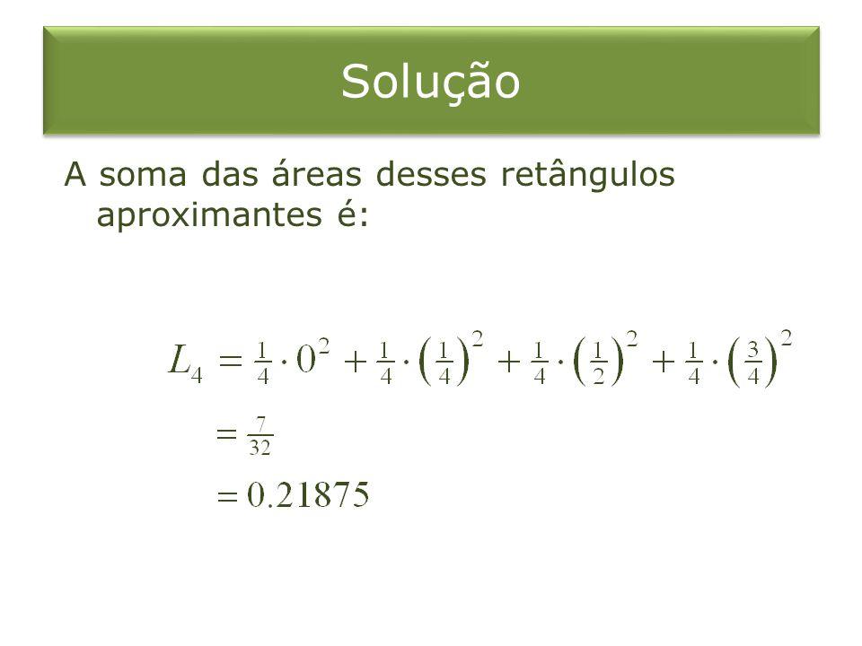 Solução A soma das áreas desses retângulos aproximantes é: