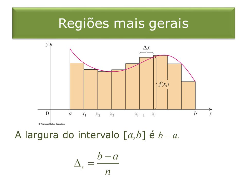 Regiões mais gerais A largura do intervalo [ a,b ] é b – a.