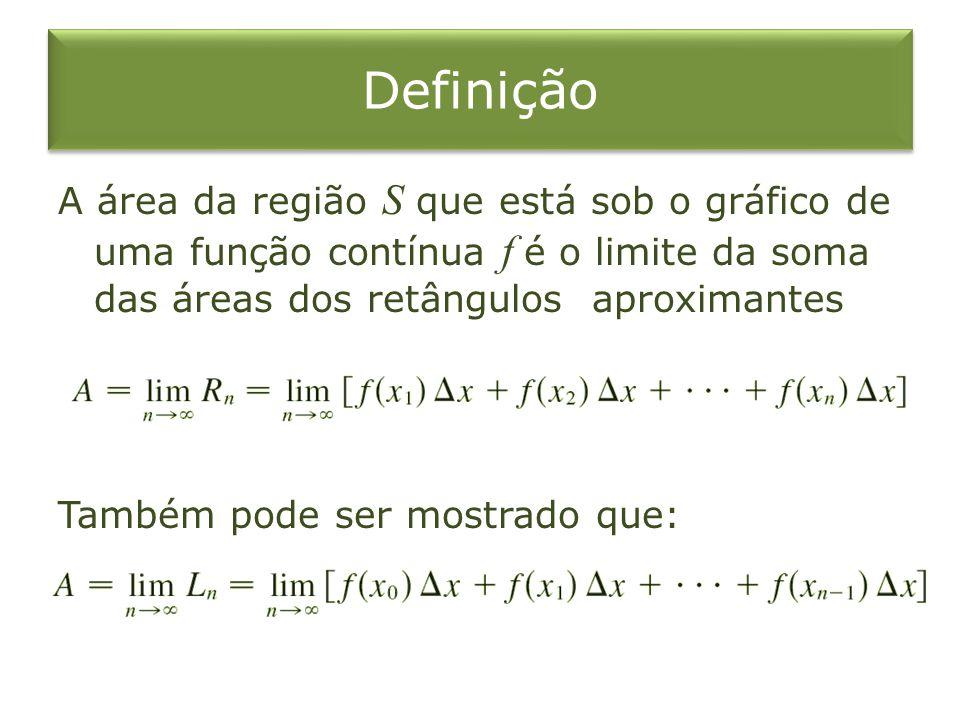 Definição A área da região S que está sob o gráfico de uma função contínua f é o limite da soma das áreas dos retângulos aproximantes Também pode ser