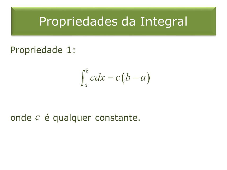 Propriedades da Integral Propriedade 1: onde é qualquer constante.