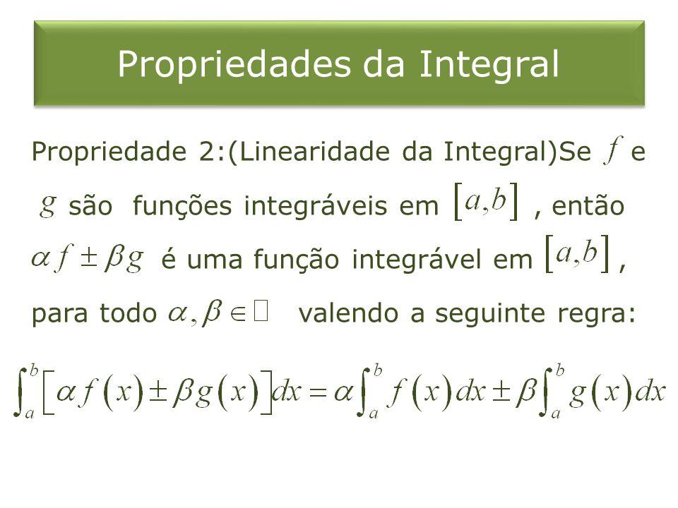 Propriedades da Integral Propriedade 2:(Linearidade da Integral)Se e são funções integráveis em, então é uma função integrável em, para todo valendo a seguinte regra: