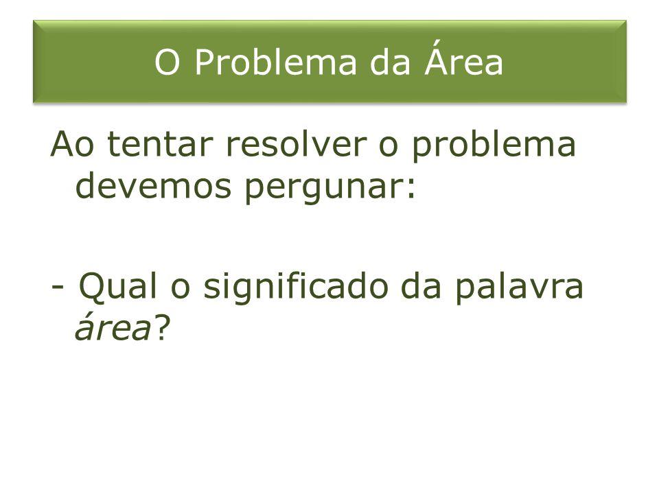 O Problema da Área Ao tentar resolver o problema devemos pergunar: - Qual o significado da palavra área?