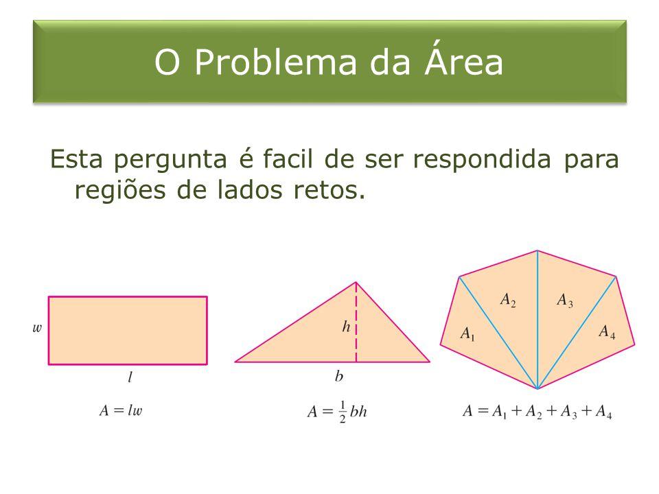 O Problema da Área Esta pergunta é facil de ser respondida para regiões de lados retos.