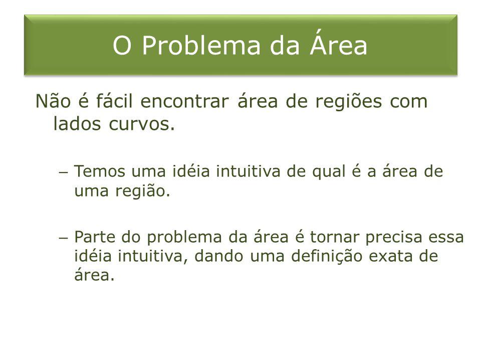 O Problema da Área Não é fácil encontrar área de regiões com lados curvos. – Temos uma idéia intuitiva de qual é a área de uma região. – Parte do prob