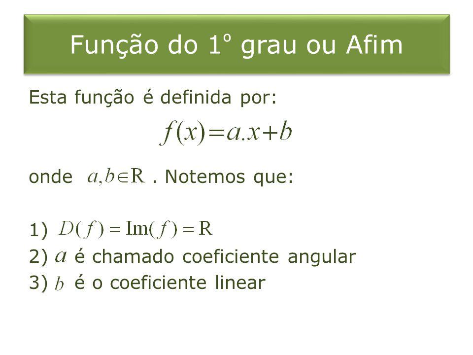 Função do 1 º grau ou Afim Esta função é definida por: onde. Notemos que: 1) 2) é chamado coeficiente angular 3) é o coeficiente linear