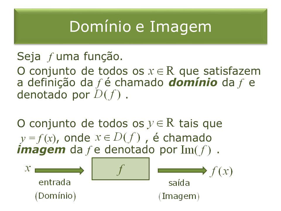 Domínio e Imagem Seja f uma função. O conjunto de todos os que satisfazem a definição da f é chamado domínio da f e denotado por. O conjunto de todos