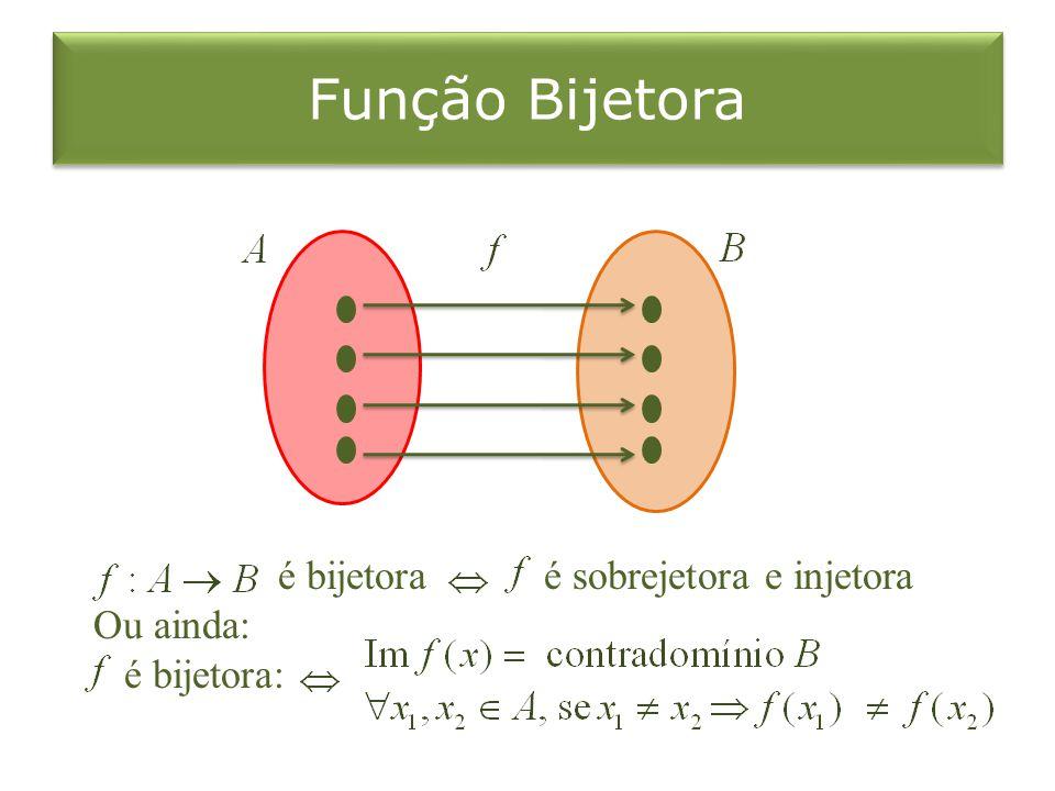 Função Bijetora é bijetora é sobrejetora e injetora Ou ainda: é bijetora: