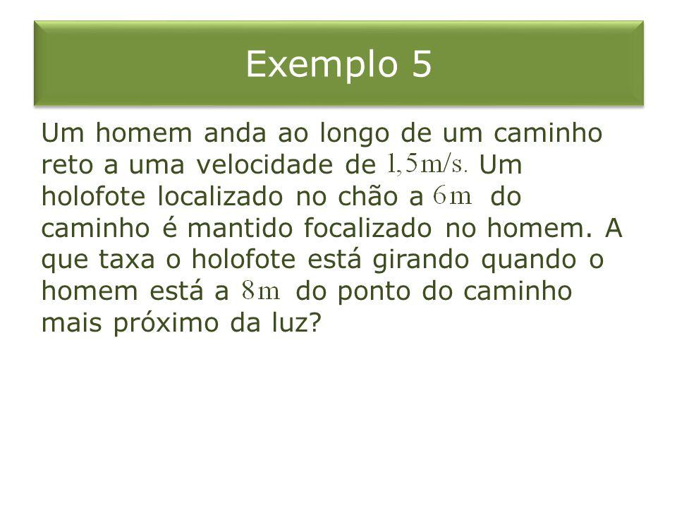 Exemplo 5 Um homem anda ao longo de um caminho reto a uma velocidade de Um holofote localizado no chão a do caminho é mantido focalizado no homem. A q