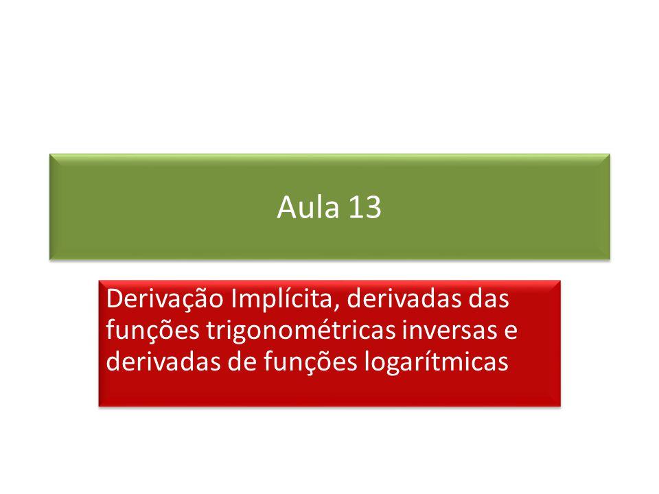 Aula 13 Derivação Implícita, derivadas das funções trigonométricas inversas e derivadas de funções logarítmicas