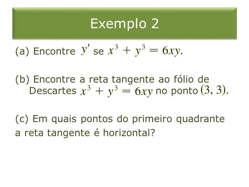 Exemplo 2 (a) Encontre se (b) Encontre a reta tangente ao fólio de Descartes no ponto (c) Em quais pontos do primeiro quadrante a reta tangente é hori