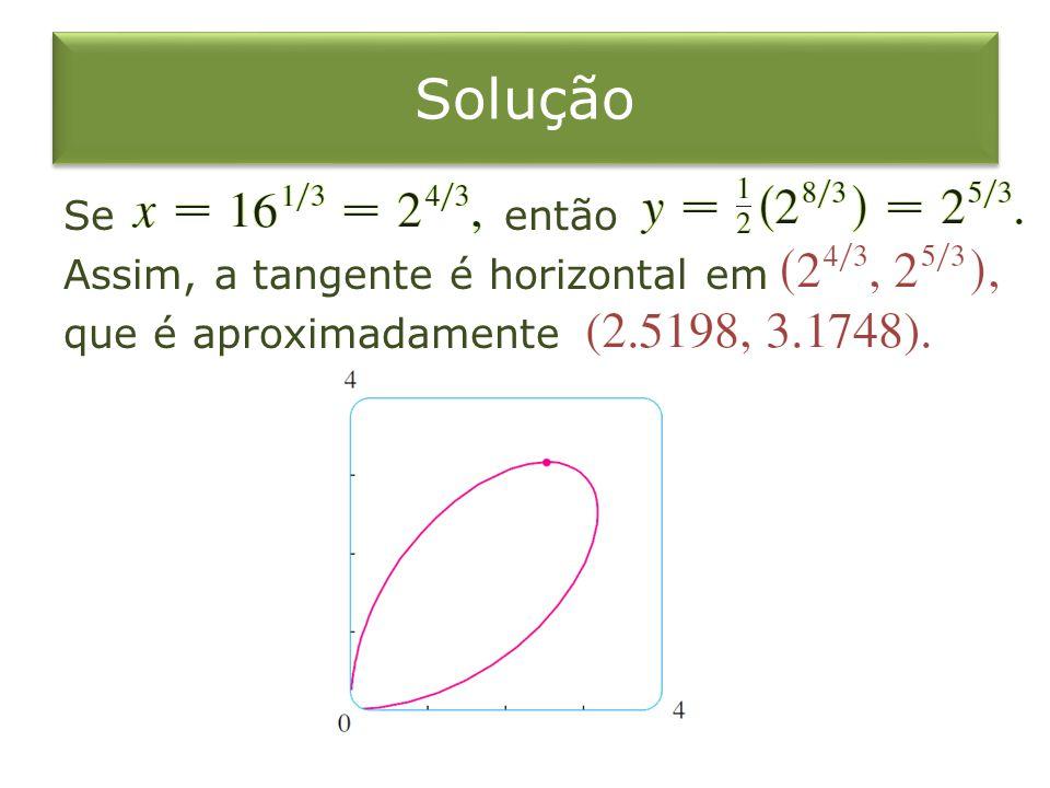 Solução Se então Assim, a tangente é horizontal em que é aproximadamente