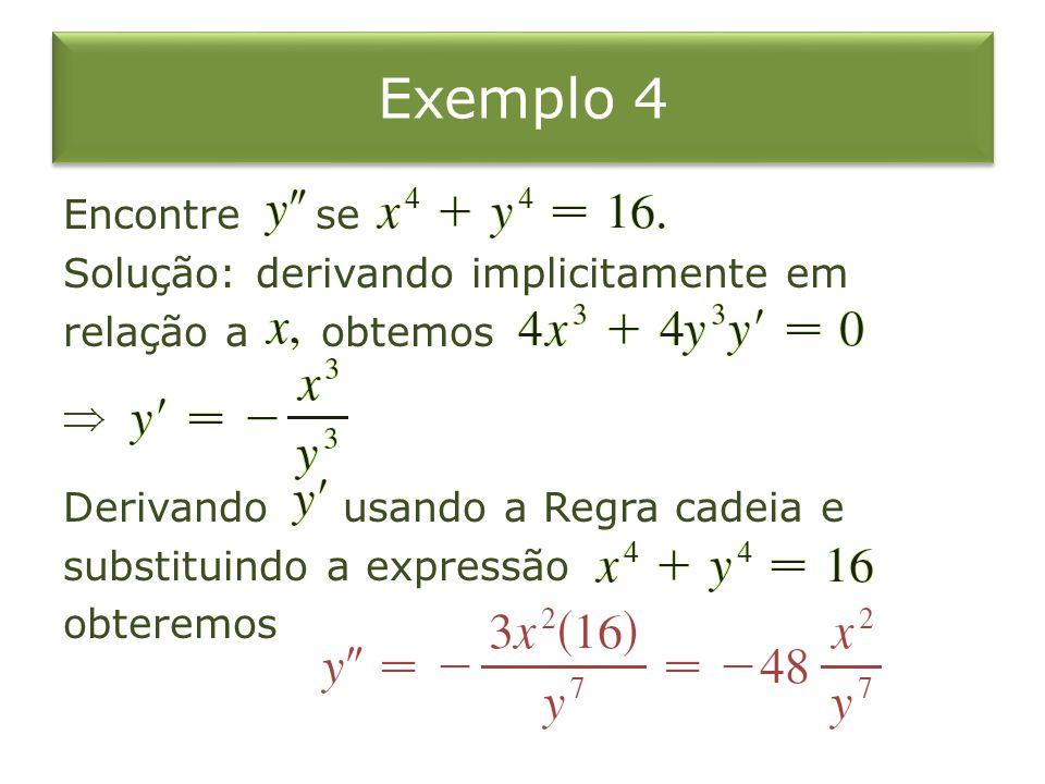 Exemplo 4 Encontre se Solução: derivando implicitamente em relação a obtemos Derivando usando a Regra cadeia e substituindo a expressão obteremos