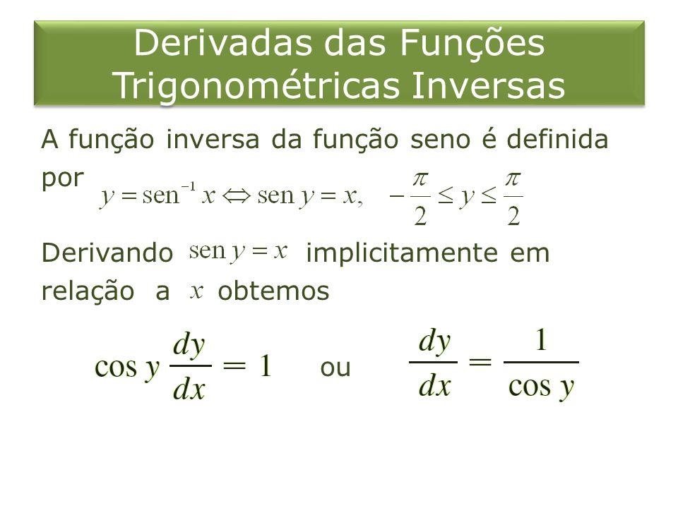 Derivadas das Funções Trigonométricas Inversas A função inversa da função seno é definida por Derivando implicitamente em relação a obtemos ou