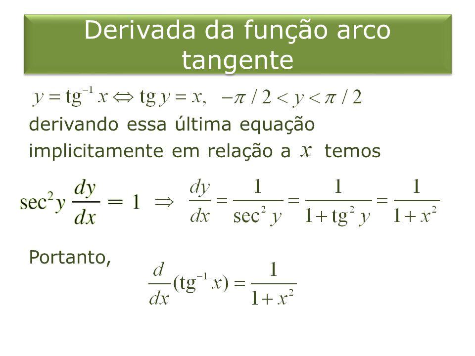 Derivada da função arco tangente derivando essa última equação implicitamente em relação a temos Portanto,