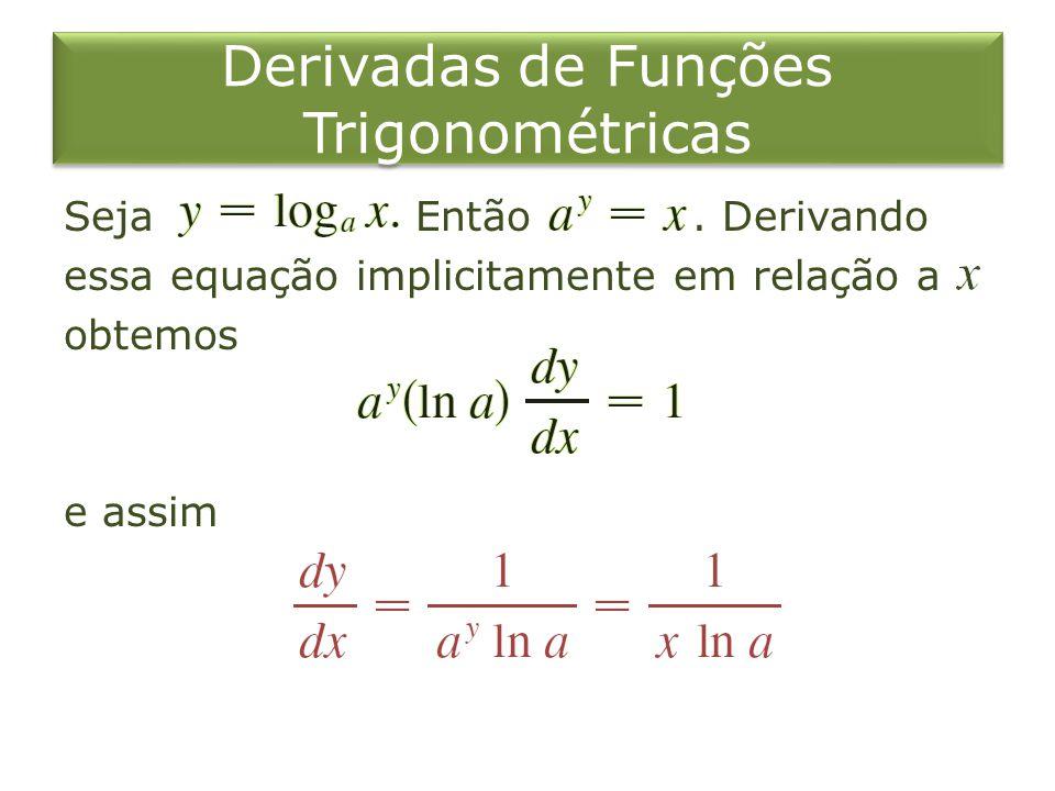 Derivadas de Funções Trigonométricas Seja Então. Derivando essa equação implicitamente em relação a obtemos e assim