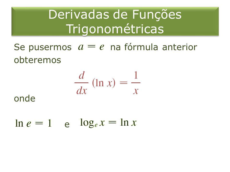 Derivadas de Funções Trigonométricas Se pusermos na fórmula anterior obteremos onde e