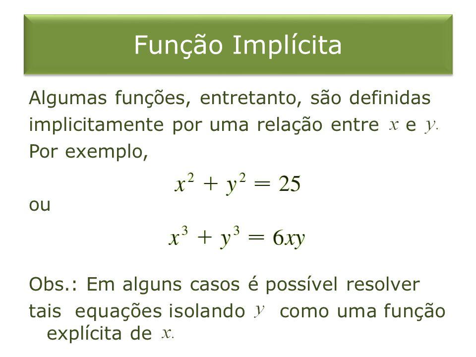 Função Implícita Algumas funções, entretanto, são definidas implicitamente por uma relação entre e Por exemplo, ou Obs.: Em alguns casos é possível re