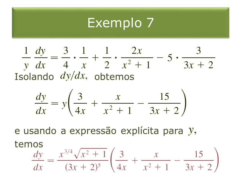Exemplo 7 Isolando obtemos e usando a expressão explícita para temos
