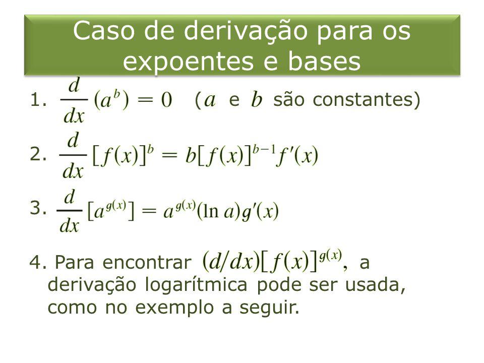 Caso de derivação para os expoentes e bases 1. ( e são constantes) 2. 3. 4. Para encontrar a derivação logarítmica pode ser usada, como no exemplo a s