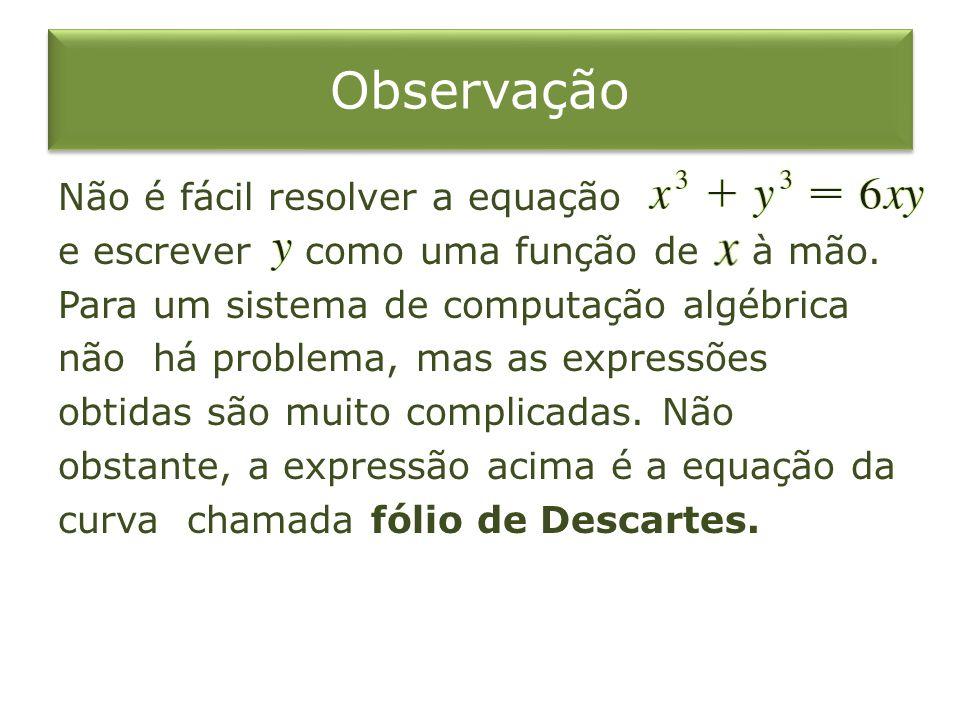 Observação Não é fácil resolver a equação e escrever como uma função de à mão. Para um sistema de computação algébrica não há problema, mas as express