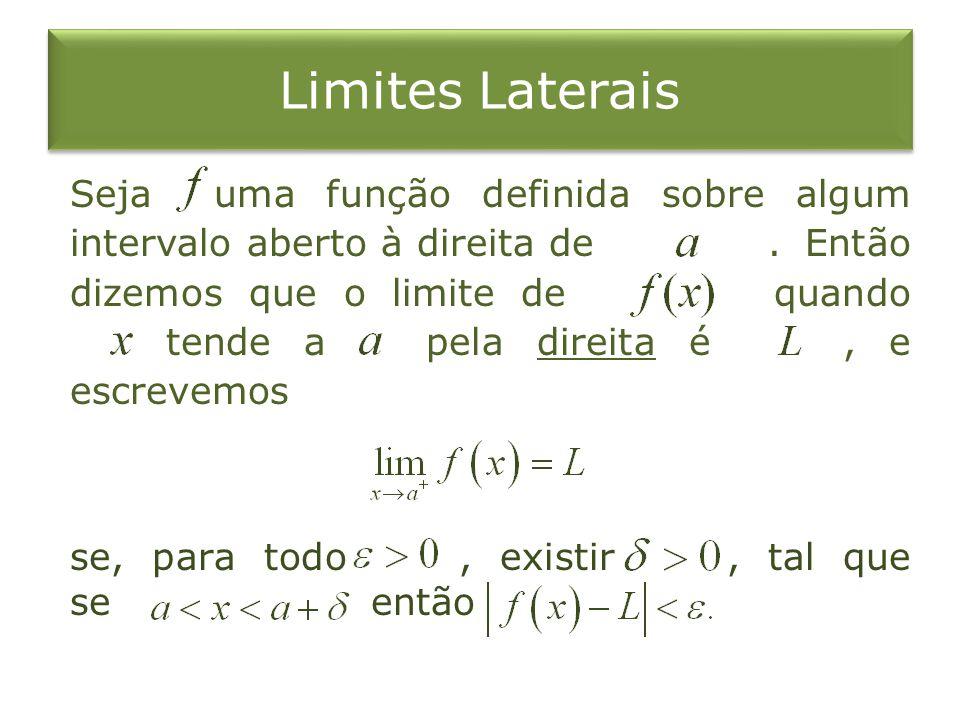 Limites Laterais Seja uma função definida sobre algum intervalo aberto à direita de. Então dizemos que o limite de quando tende a pela direita é, e es