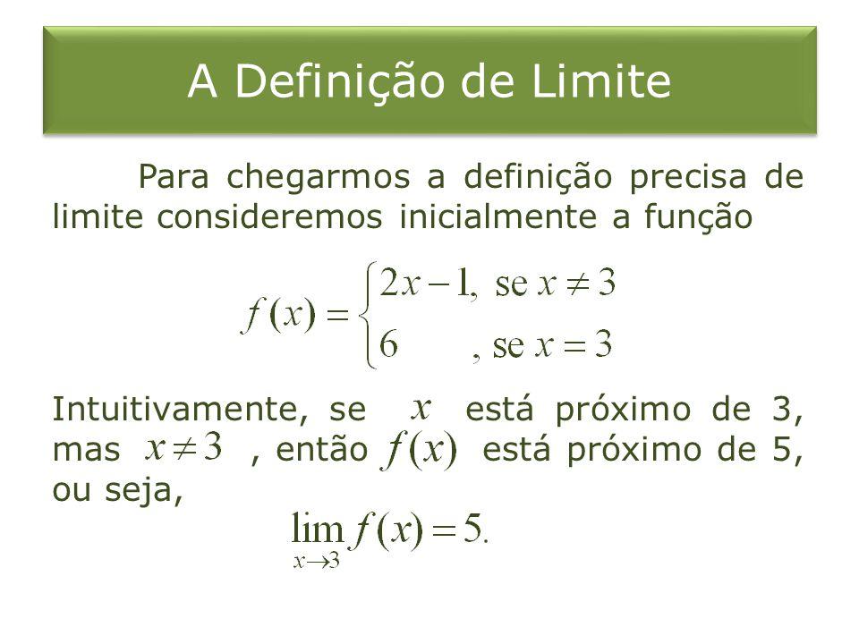 A Definição de Limite Para chegarmos a definição precisa de limite consideremos inicialmente a função Intuitivamente, se está próximo de 3, mas, então