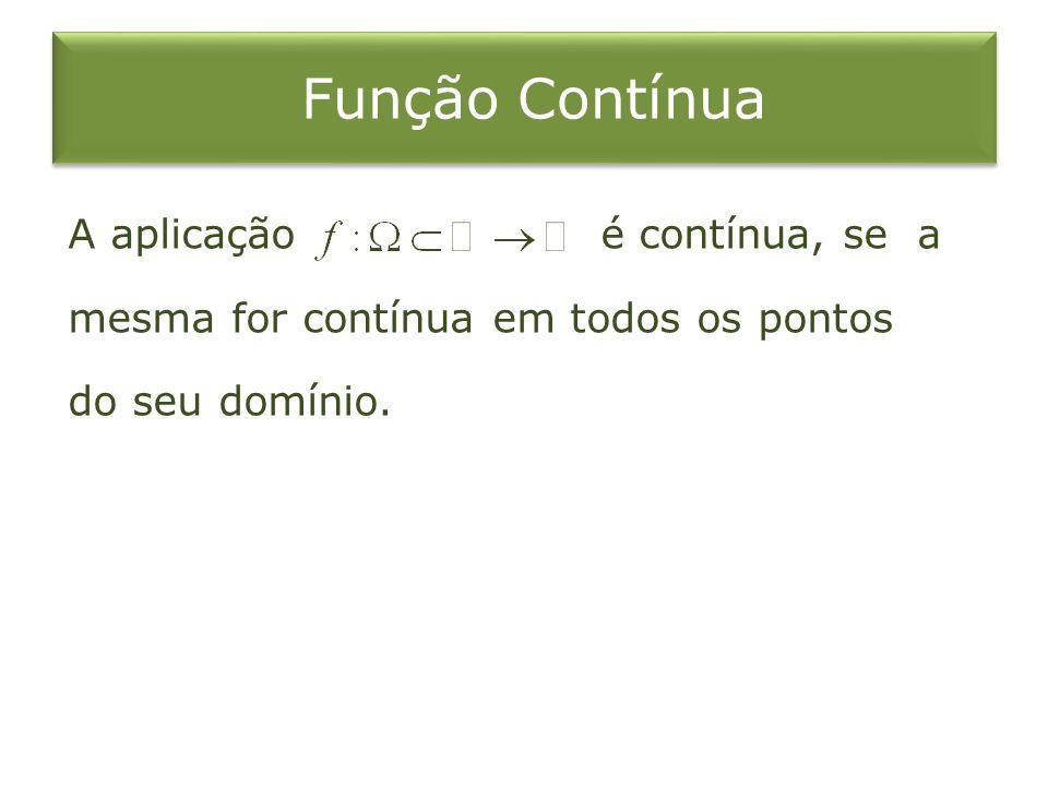 Função Contínua A aplicação é contínua, se a mesma for contínua em todos os pontos do seu domínio.