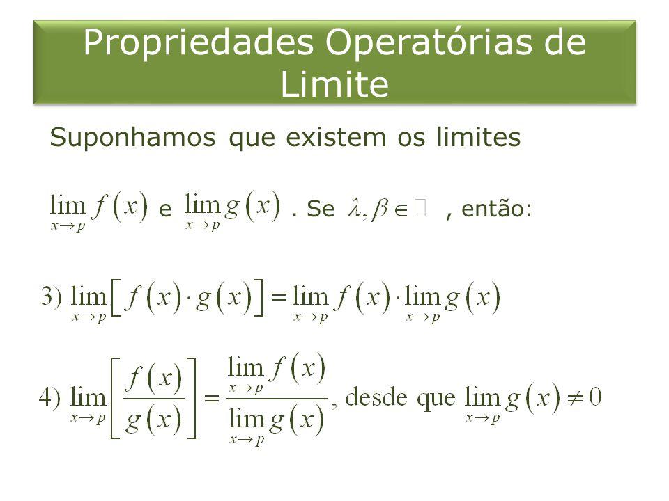 Propriedades Operatórias de Limite Suponhamos que existem os limites e. Se, então: