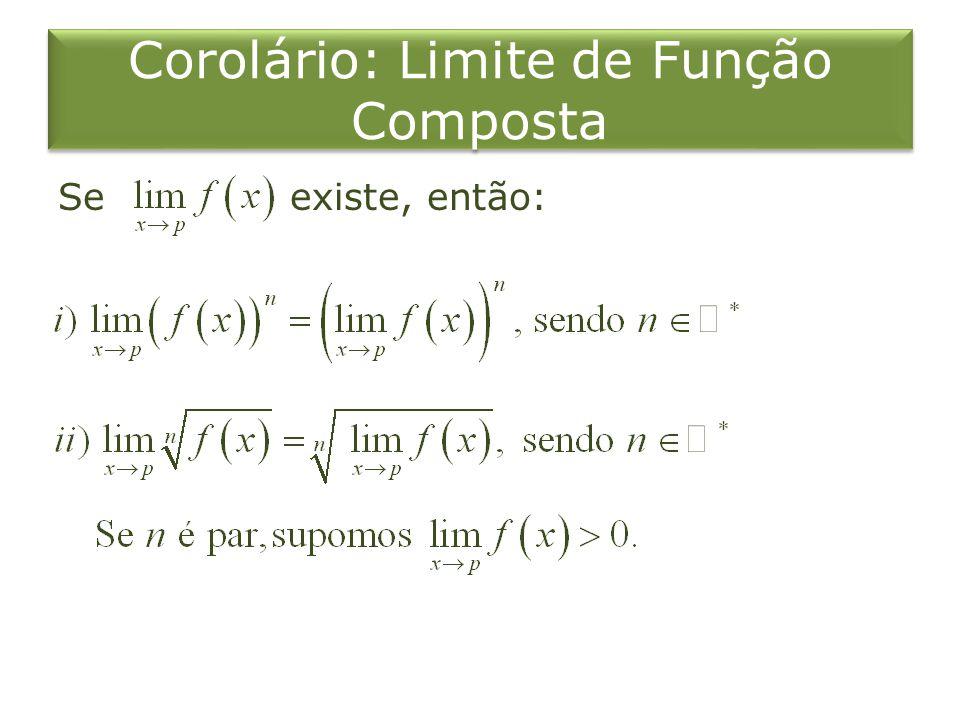 Se existe, então: Corolário: Limite de Função Composta