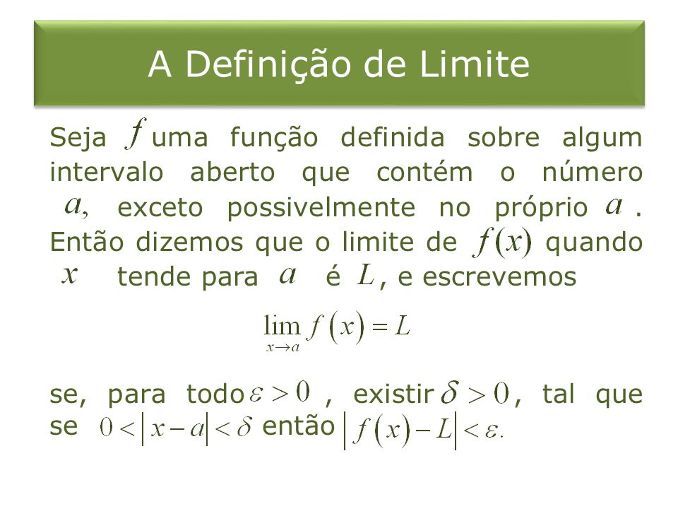 A Definição de Limite Seja uma função definida sobre algum intervalo aberto que contém o número exceto possivelmente no próprio. Então dizemos que o l