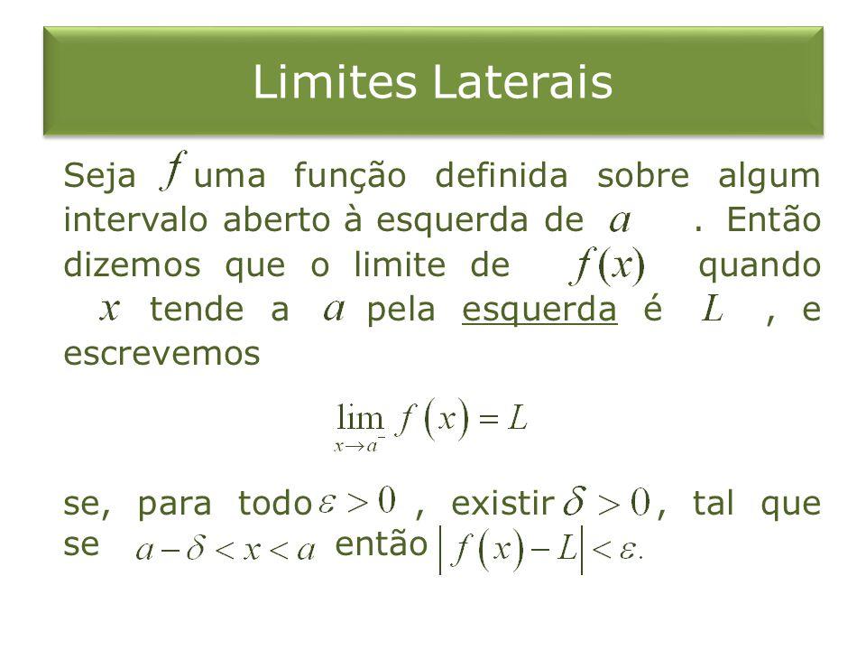 Limites Laterais Seja uma função definida sobre algum intervalo aberto à esquerda de. Então dizemos que o limite de quando tende a pela esquerda é, e