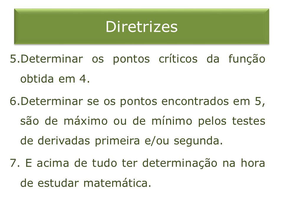 Diretrizes 5.Determinar os pontos críticos da função obtida em 4. 6.Determinar se os pontos encontrados em 5, são de máximo ou de mínimo pelos testes
