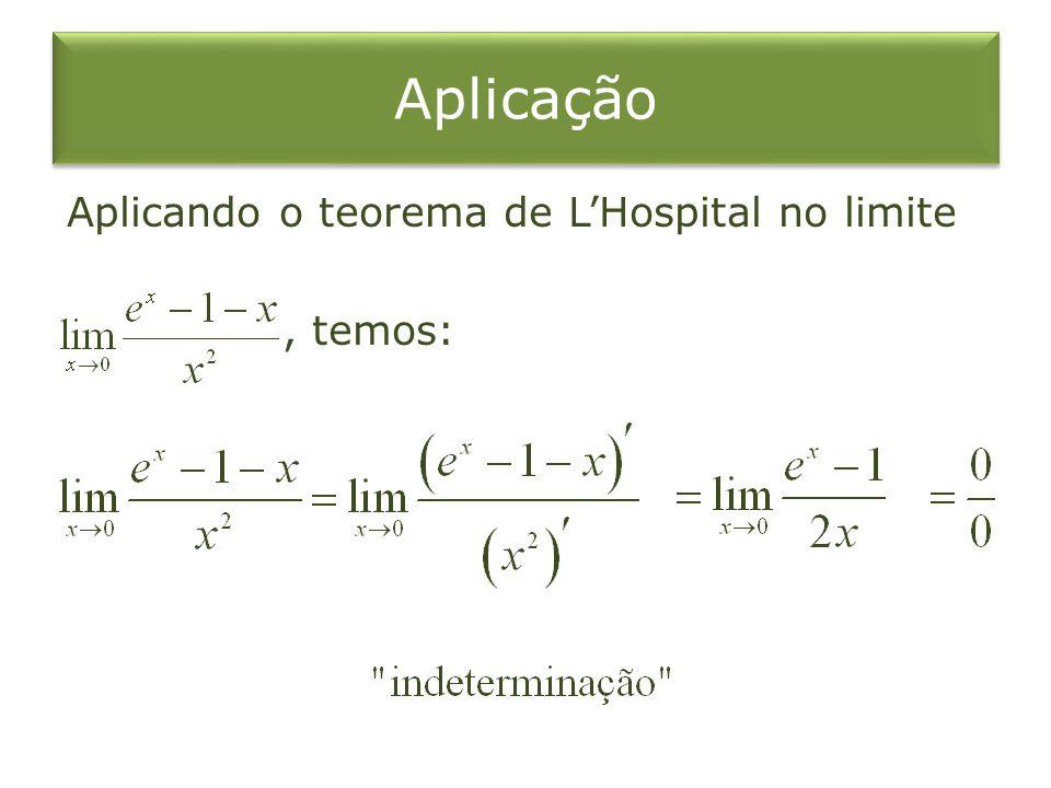 Aplicando o teorema de LHospital no limite, temos: Aplicação