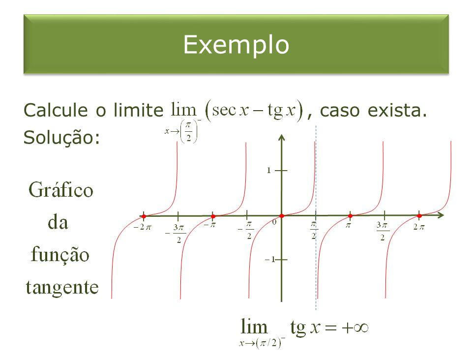 Calcule o limite, caso exista. Solução: Exemplo
