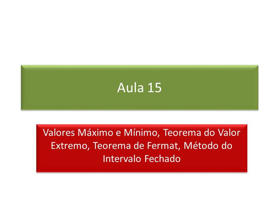 Aula 15 Valores Máximo e Mínimo, Teorema do Valor Extremo, Teorema de Fermat, Método do Intervalo Fechado