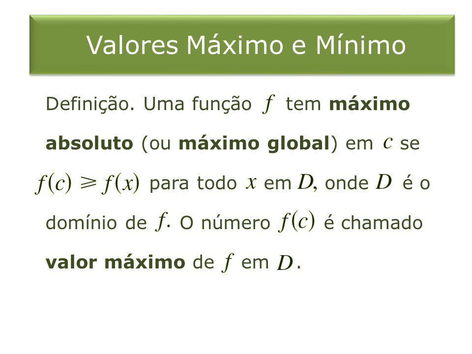 Valores Máximo e Mínimo Definição. Uma função tem máximo absoluto (ou máximo global) em se para todo em onde é o domínio de O número é chamado valor m