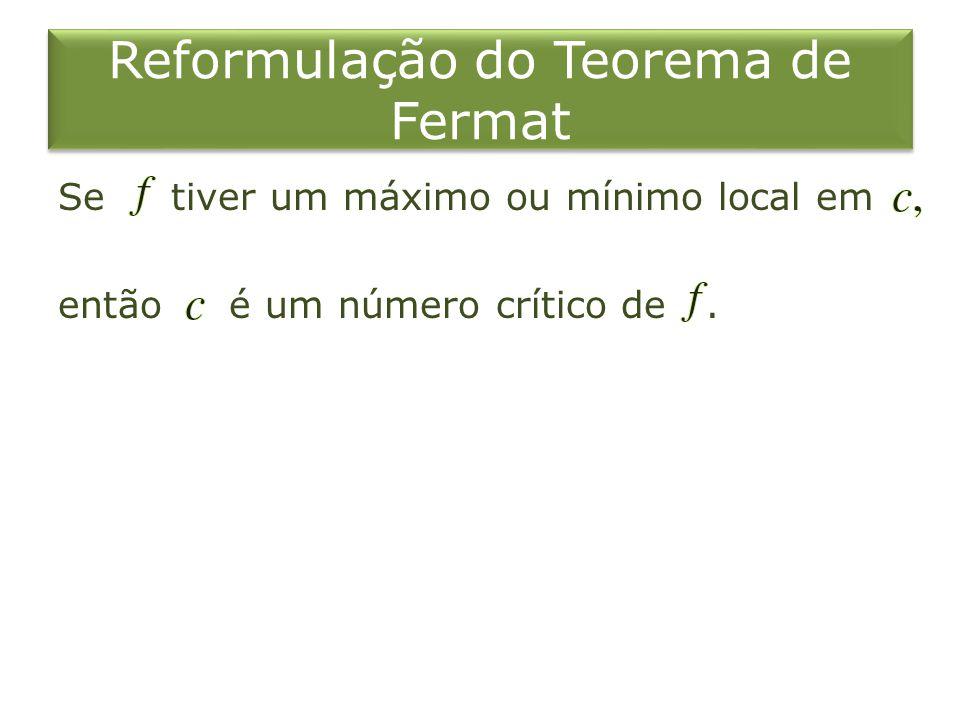 Reformulação do Teorema de Fermat Se tiver um máximo ou mínimo local em então é um número crítico de.