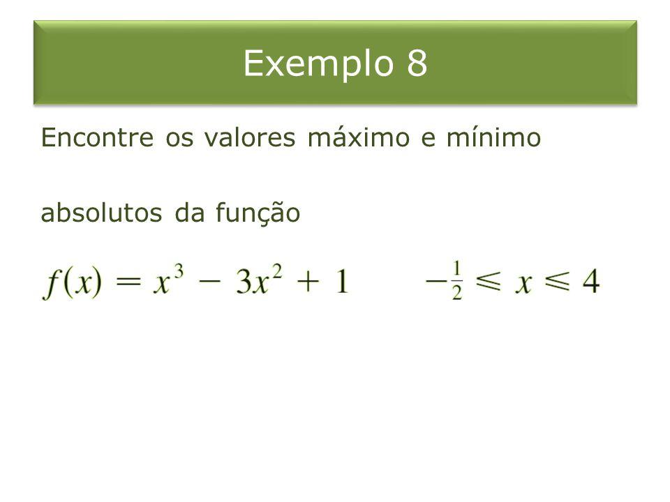 Exemplo 8 Encontre os valores máximo e mínimo absolutos da função