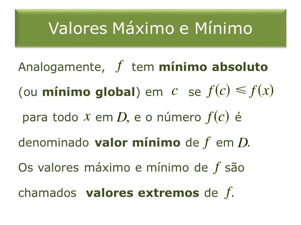 Valores Máximo e Mínimo Analogamente, tem mínimo absoluto (ou mínimo global) em se para todo em e o número é denominado valor mínimo de em. Os valores