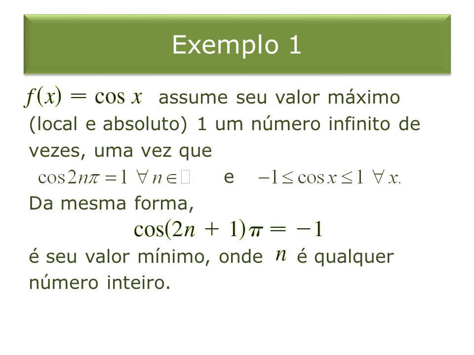 Exemplo 1 assume seu valor máximo (local e absoluto) 1 um número infinito de vezes, uma vez que e Da mesma forma, é seu valor mínimo, onde é qualquer