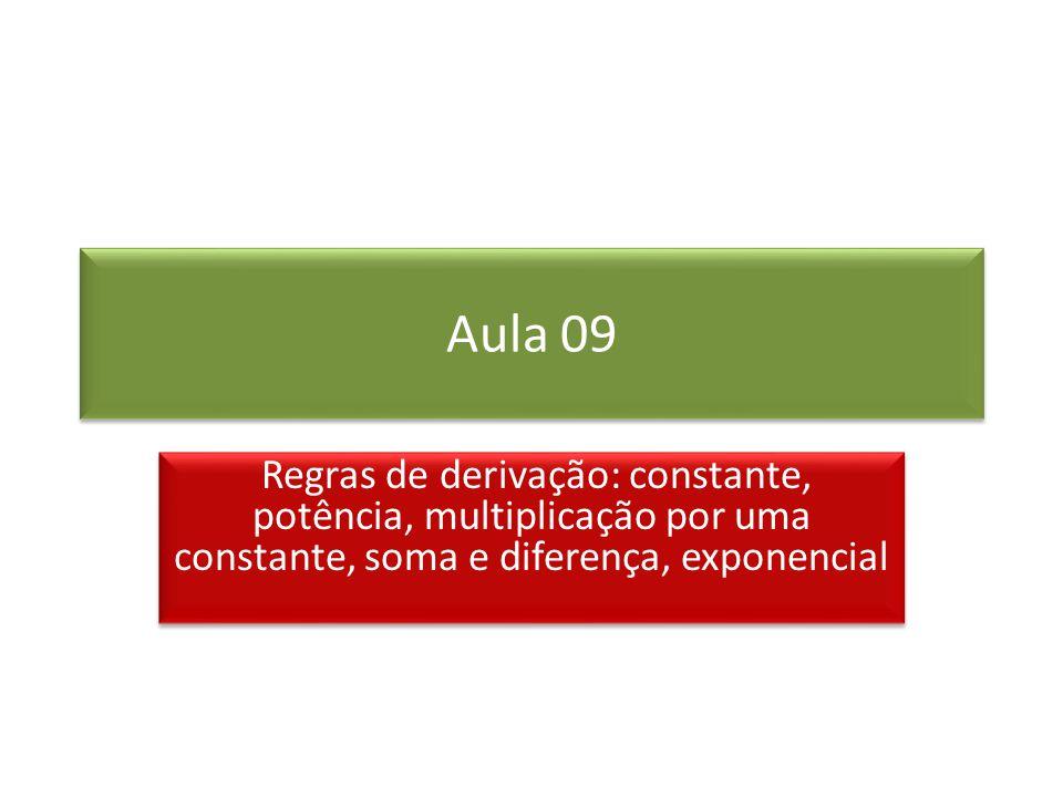 Aula 09 Regras de derivação: constante, potência, multiplicação por uma constante, soma e diferença, exponencial