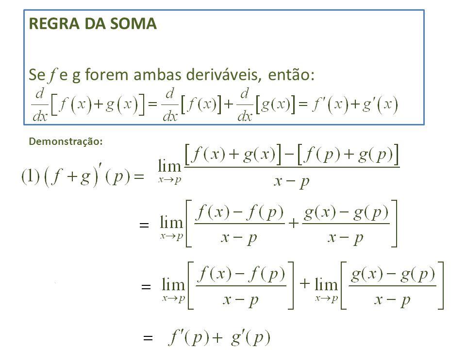 REGRA DA SOMA Se f e g forem ambas deriváveis, então: Demonstração: