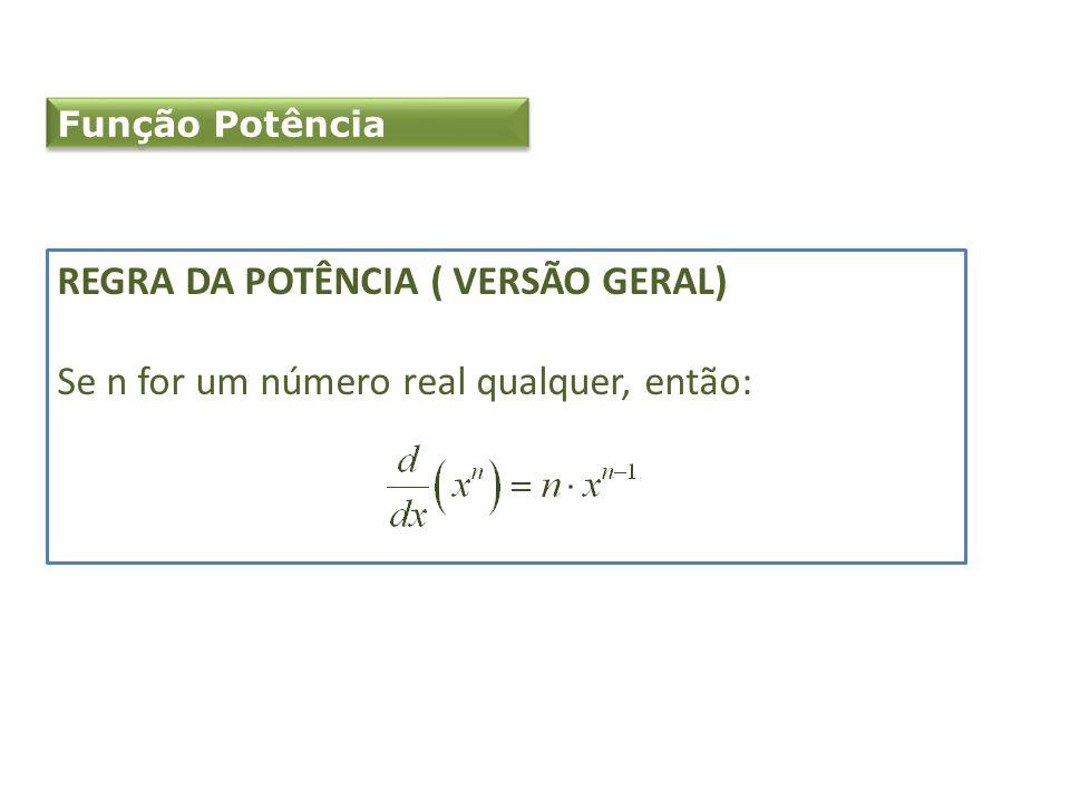 Função Potência REGRA DA POTÊNCIA ( VERSÃO GERAL) Se n for um número real qualquer, então: